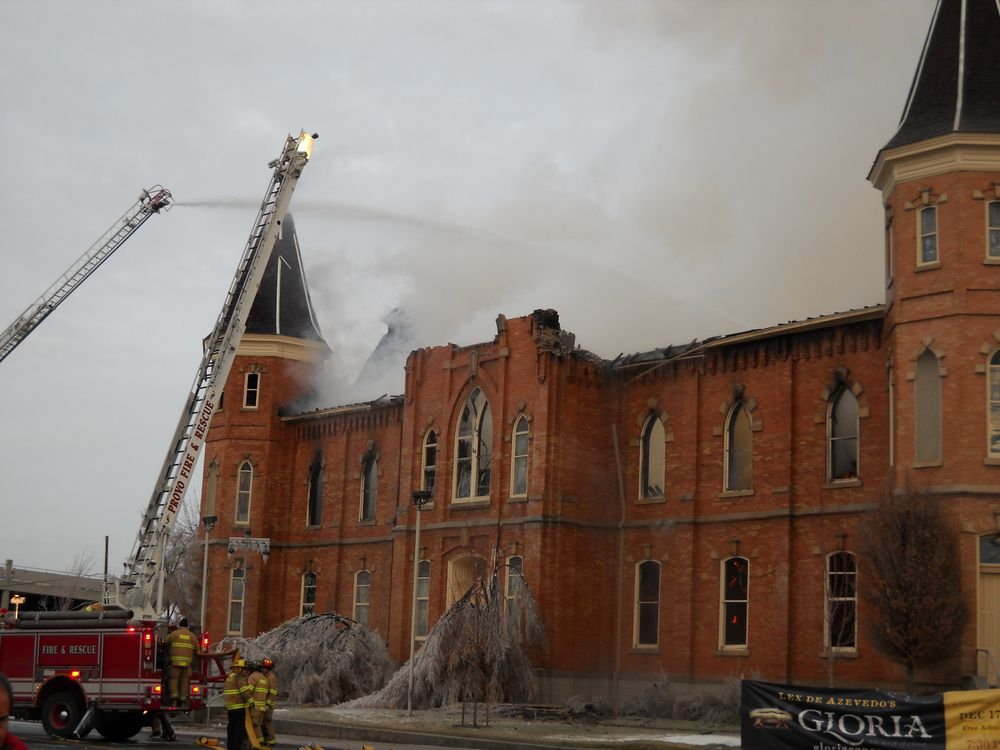 Provo Tabernacle on fire December 17, 2010. Photo Credit with permission: Russell Bateman